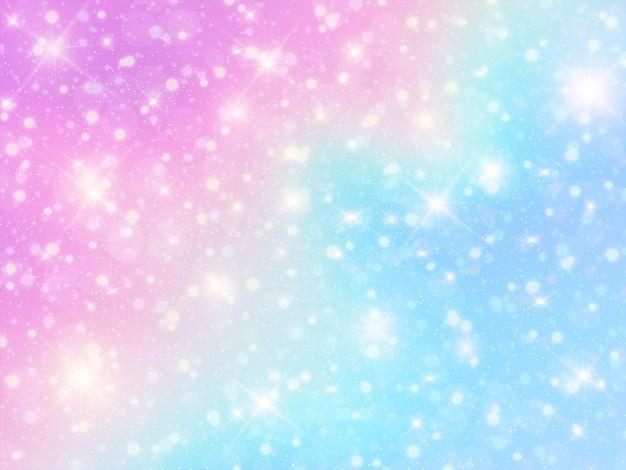 Holographic unicorn background Premium Vector