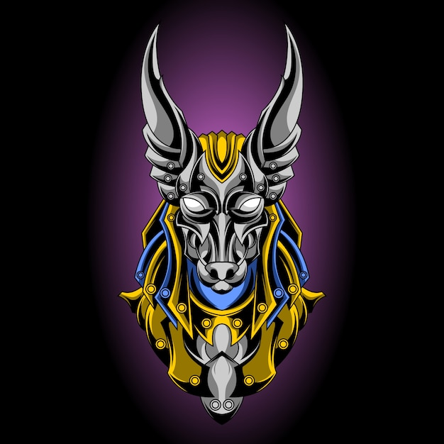 Holy anubis gold and silver Premium Vector