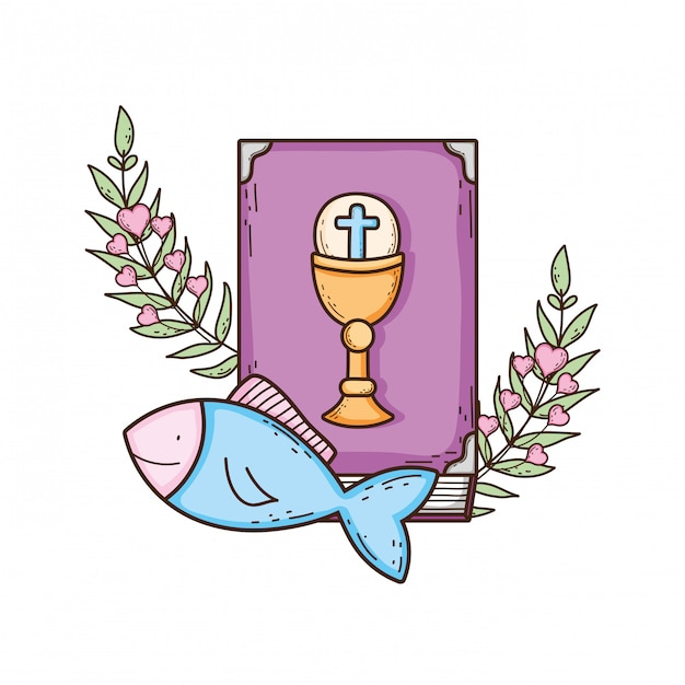 Holy bible book with fishes Premium Vector