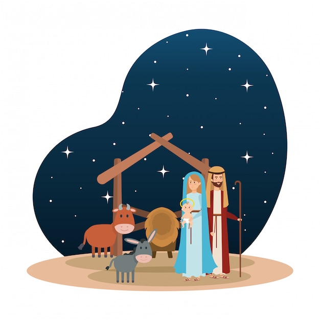 Holy family with mule and ox manger characters Premium Vector