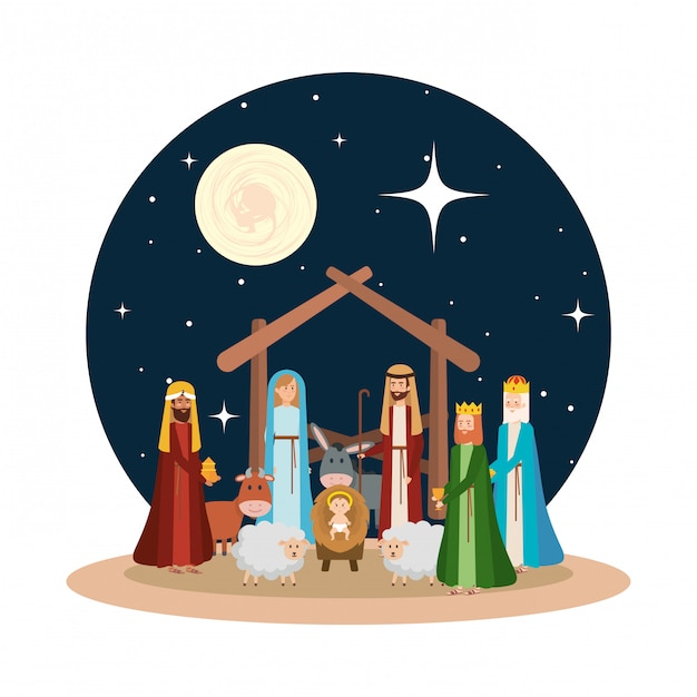 Holy family with wise kings and animals Premium Vector
