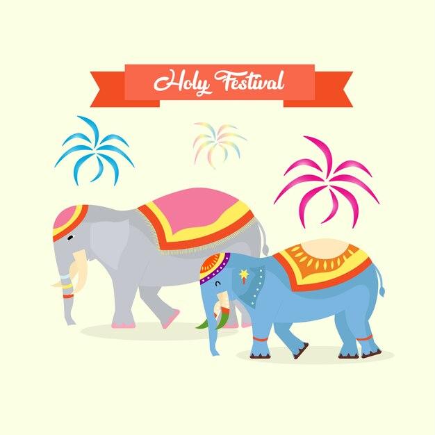 Holy festival with elephant decoration Premium Vector