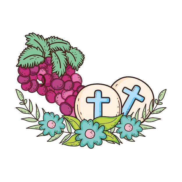 Holy host communion with grapes Premium Vector