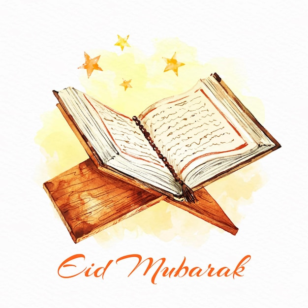Holy koran watercolour eid mubarak Free Vector