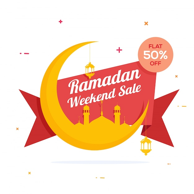 Holy Month, Ramadan Weekend Sale Ribbon design, Creative big crescent moon with mosque and lamps for Islamic Festivals celebration.  Free Vector