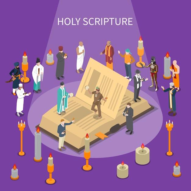 開いた本、世界の宗教からの人々、紫色の背景にキャンドルと聖書の等尺性の構成 無料ベクター