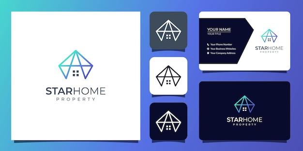 名刺テンプレートと家と財産のロゴ Premiumベクター