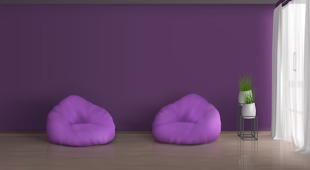Home, apartment living room realistic vector violet, purple interior. empty wall, two bean bag chairs on floor, plants in ceramic flowerpots on metallic stand, curtained with white tulle window Free Vector