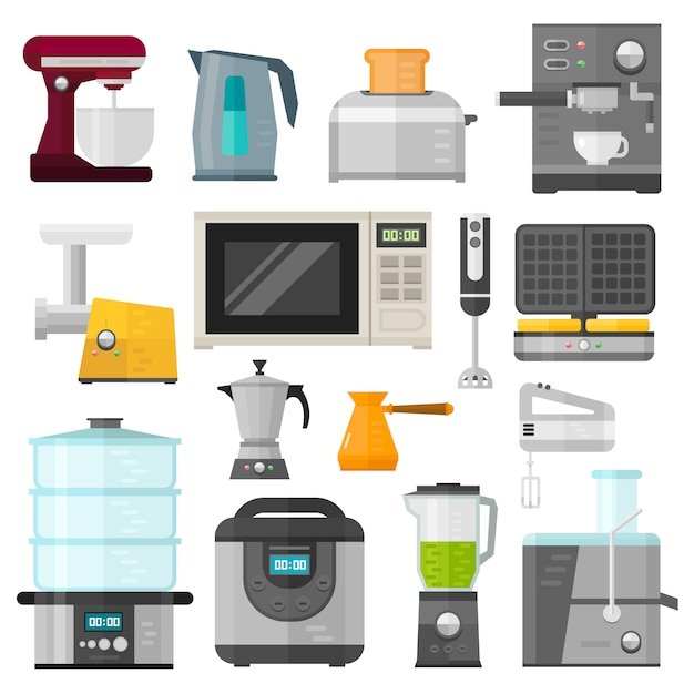 Home appliances design cooking applications and home appliances equipment kitchen. home appliances household cooking set. Premium Vector