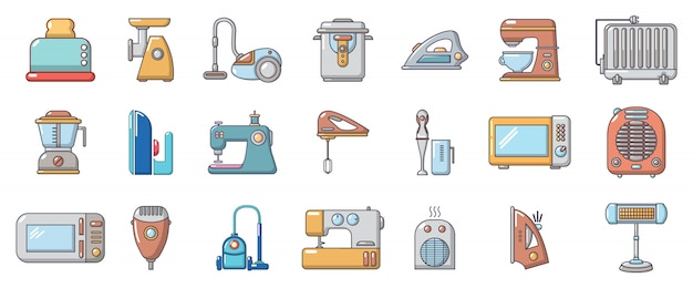Home appliances icon set. cartoon set of home appliances vector icons set isolated Premium Vector