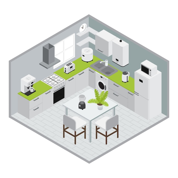 Home appliances isometrics kitchen composition in 3d design with walls and floor Free Vector