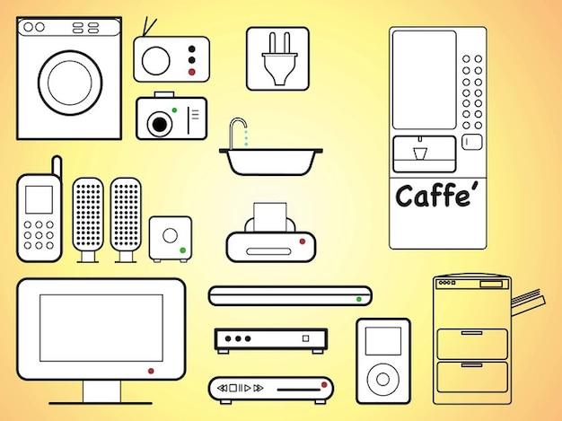 Home appliances modern technology gadgets Free Vector