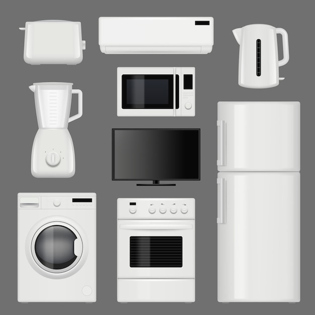 Home appliances realistic. modern stainless steel kitchen tools pictures isolated Premium Vector