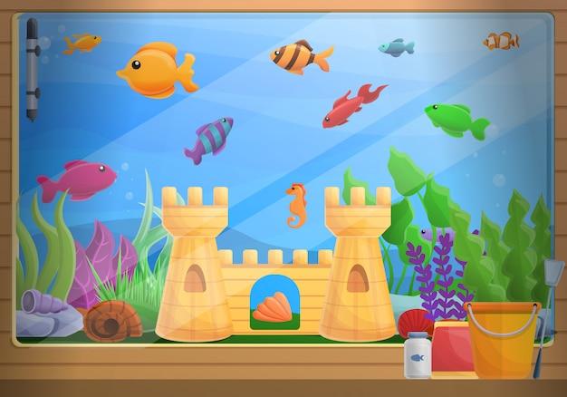 Home aquarium concept illustration, cartoon style Premium Vector