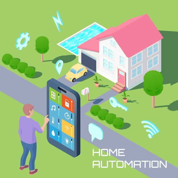 Home automation isometric design composition Free Vector