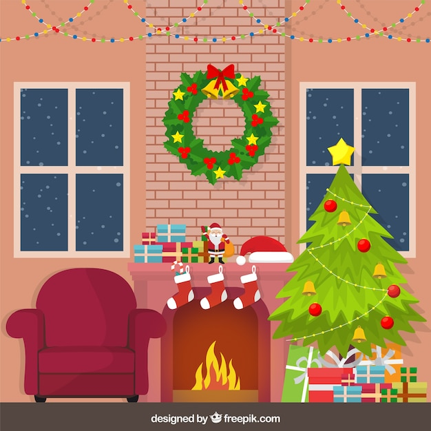 Home Background With Christmas Decoration Vector Free Download