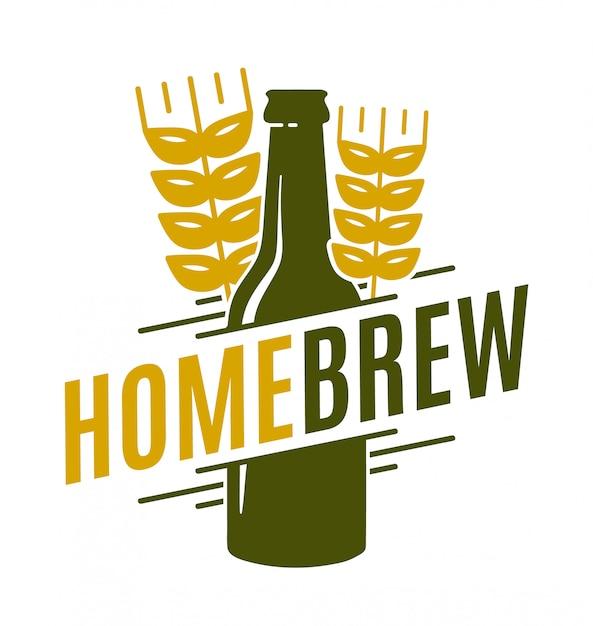 Иллюстрация домашнего пива с бутылкой и пшеницей Premium векторы
