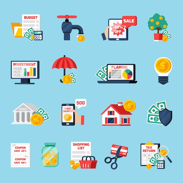 Home budget icons set Free Vector