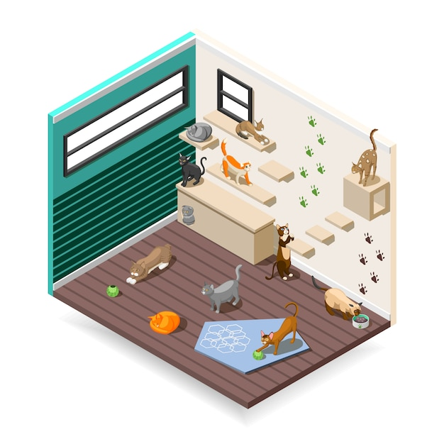 Home for cats isometric composition Free Vector