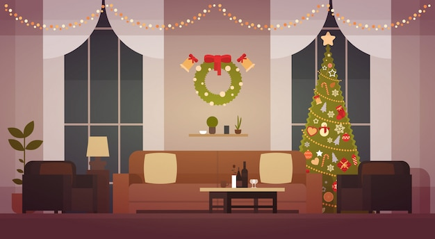 Home christmas interior with pine tree, living room ...