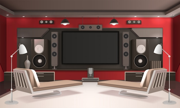 Home cinema interior with red walls Free Vector