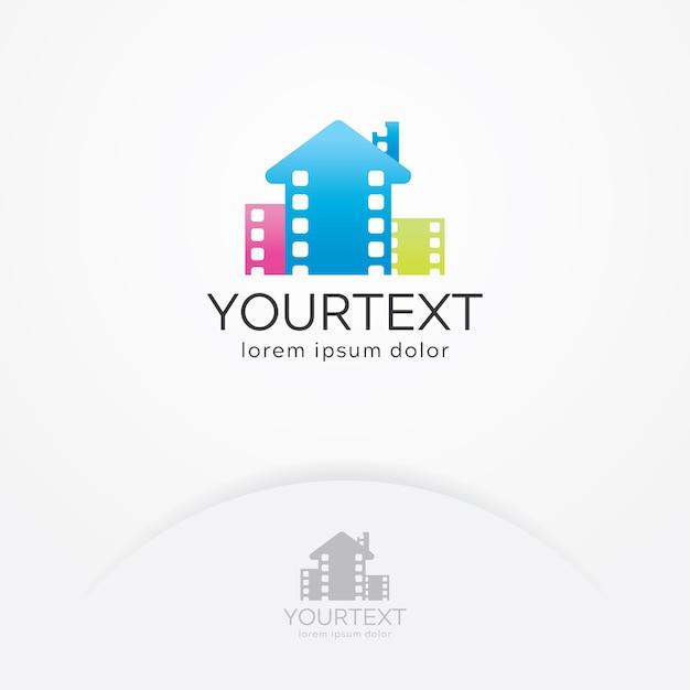 Home cinema logo design Premium Vector