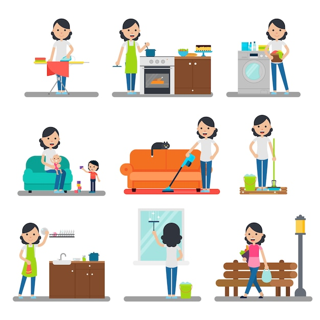 Home cleaning flat collection Free Vector