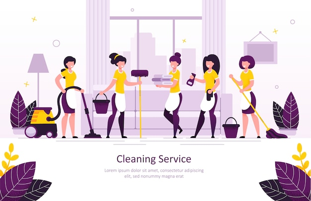 Home cleaning service flat vector promo banner Premium Vector