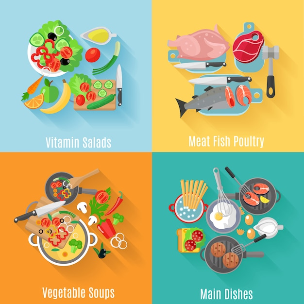 Home cooking main dishes Free Vector