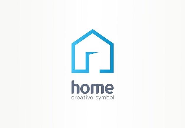 Концепция дома творческий символ. открытая дверь, вход в здание, агентство недвижимости абстрактный бизнес логотип. интерьер дома архитектура, значок входа на сайт. фирменный стиль, логотип, графика компании Premium векторы