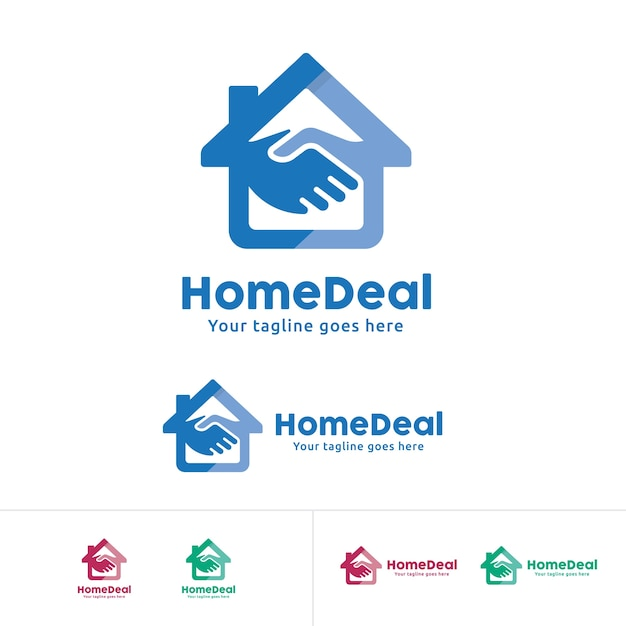 Home deal logo, home trade company identity, home with hand shake symbol Premium Vector