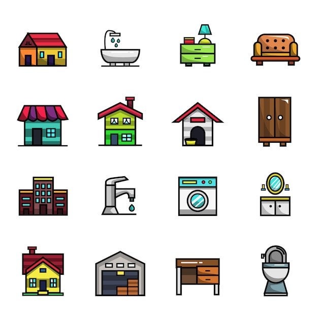 Home decoration and furniture elements full color  icon set Premium Vector