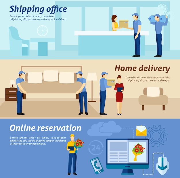 Home delivery service flat banners set Free Vector