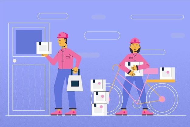 Коллекция работников службы доставки на дом Бесплатные векторы