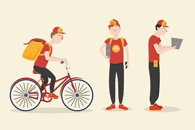 Home delivery worker collection Free Vector