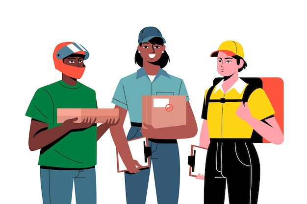 Home delivery worker from various companies Free Vector