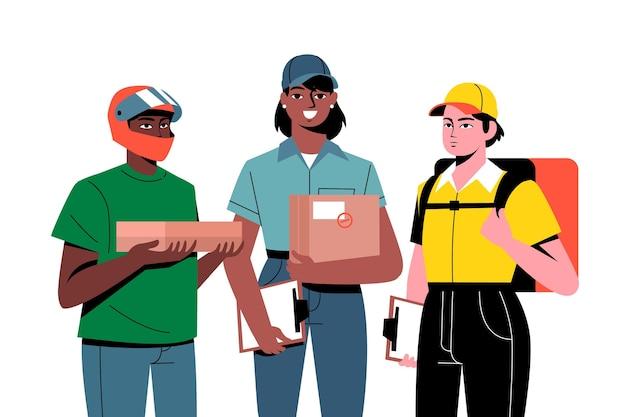 Доставка на дом работника из разных компаний Бесплатные векторы