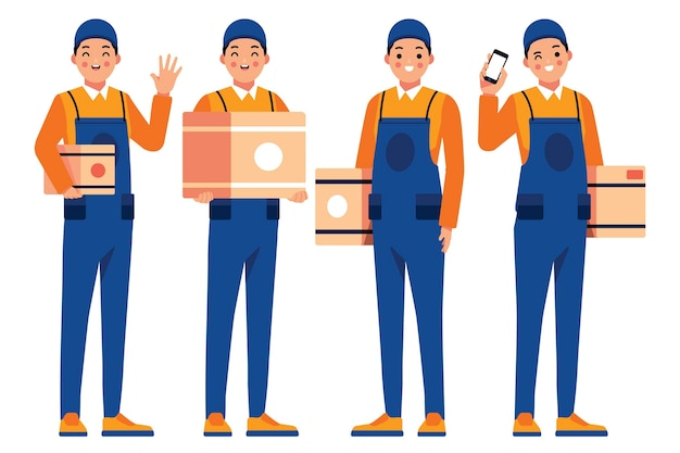 Home delivery worker holding boxes Premium Vector