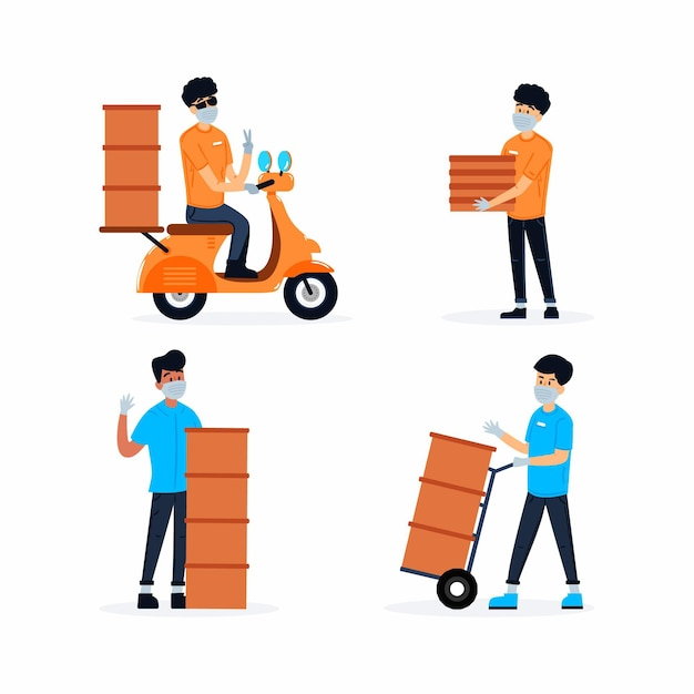 Home delivery worker pack Free Vector