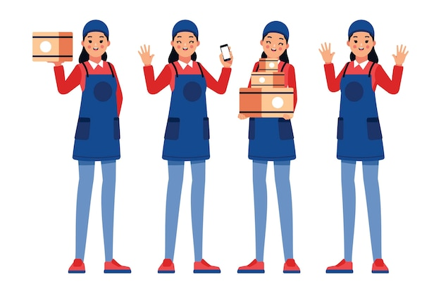 Home delivery worker in uniform Free Vector