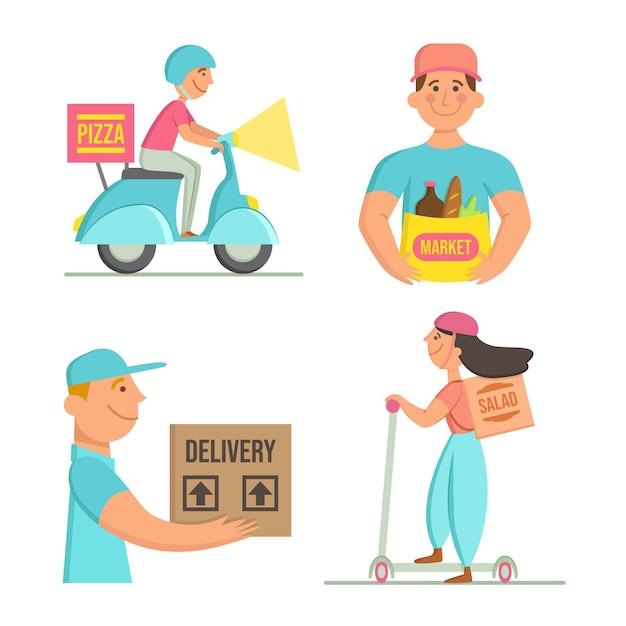 Home delivery workers collection Free Vector