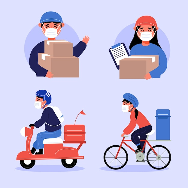 Home delivery workers pack Free Vector