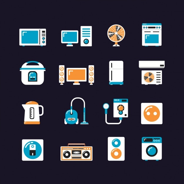Home device icons collection Free Vector