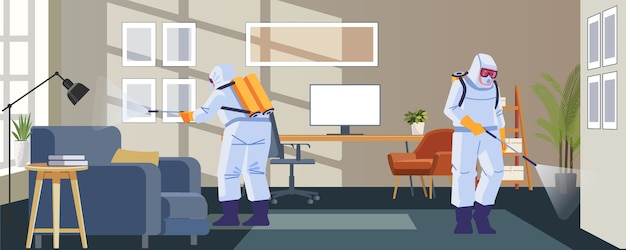 Home disinfection by commercial disinfecting services, surface treatment from pandemic coronavirus. disinfectant workers wear protective mask and suit sprays covid-19. illustration Premium Vector