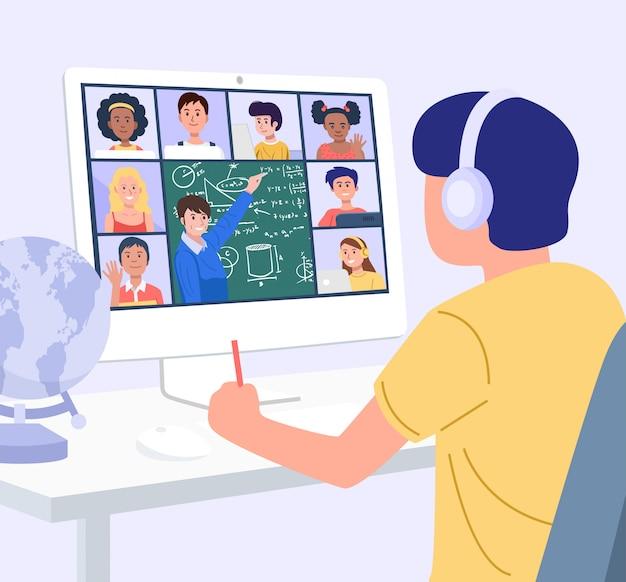 가정 교육 개념. 집에서 컴퓨터로 배우는 소년. 벡터 프리미엄 벡터