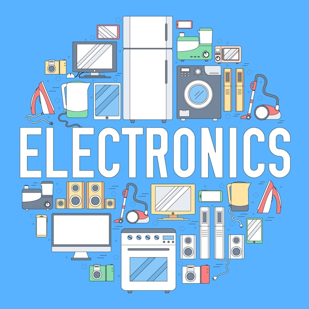 Шаблон инфографика круга приборов бытовой электроники. иконки для вашего продукта или приложений. Premium векторы