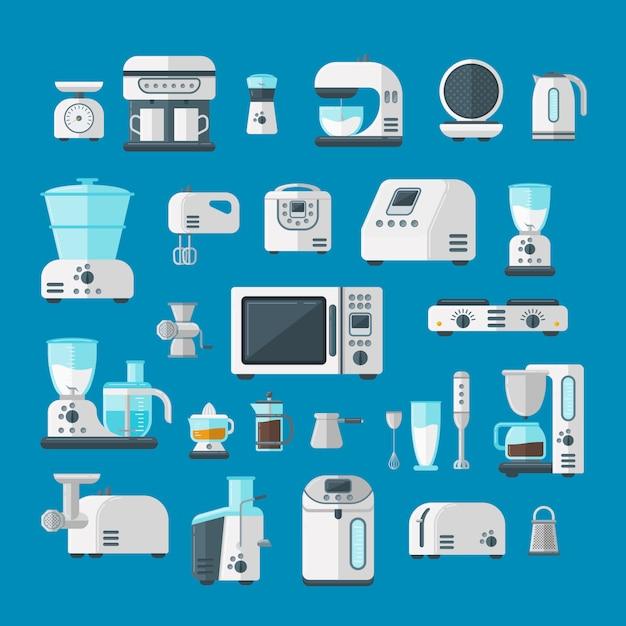 Home electronics appliances elements infographics template concept vector. Premium Vector
