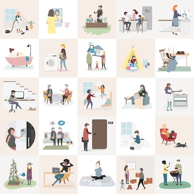 Home and family vector Free Vector