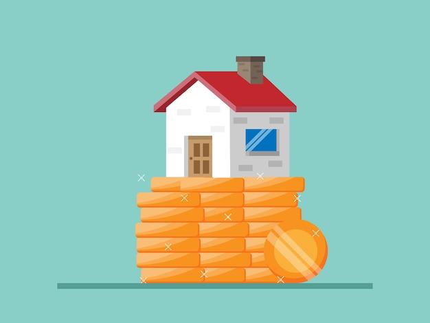 コインのスタックイラストフラットの家の金融コンセプトの家 Premiumベクター