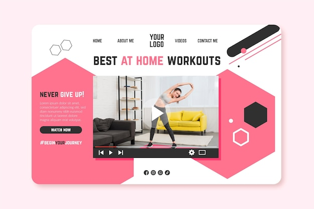 Home fitness banner templater Free Vector